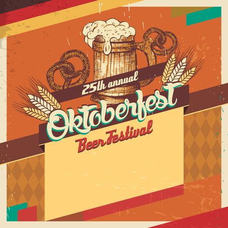 ビンテージ スタイル オクトーバーフェスト ドイツビール祭りテンプレート カード  イラスト・ベクター素材