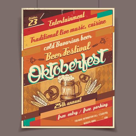 Oktoberfest german beer festival template retro poster Vector