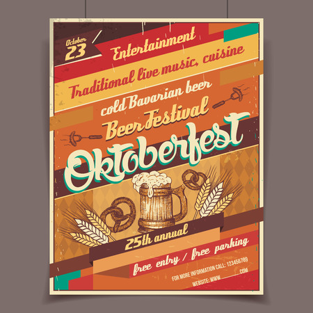 poster design: Oktoberfest german beer festival template retro poster
