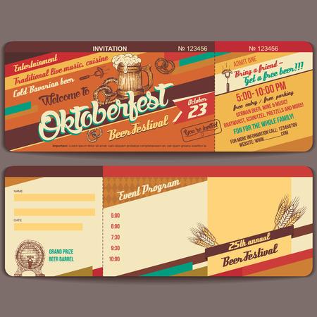 ビンテージ スタイル オクトーバーフェスト ドイツのビール祭招待テンプレート ベクトル