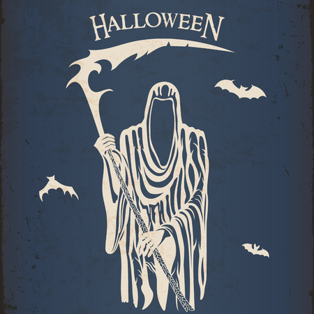 Halloween grim reaper with a scythe vintage poster Illustration