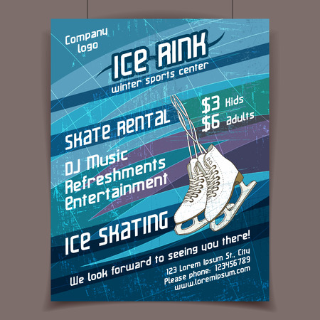 Ice rink advertising poster on scratched ice winter  Çizim