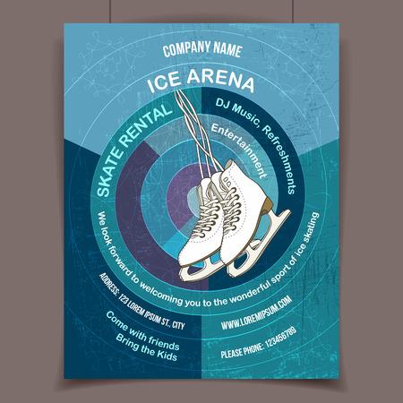 Ijs arena nodigt uit tot schaatsen, reclame poster sjabloon