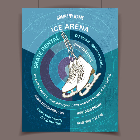 Pista de hielo invita a patinar sobre hielo, la publicidad de la plantilla del cartel Foto de archivo - 32230744