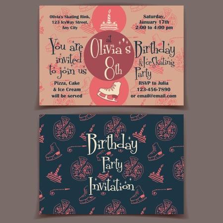 Printable ice skating birthday party invitation cards