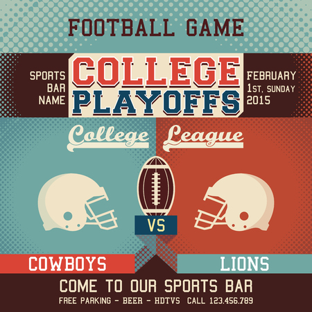 american football helmet: College playoffs football game sports event poster