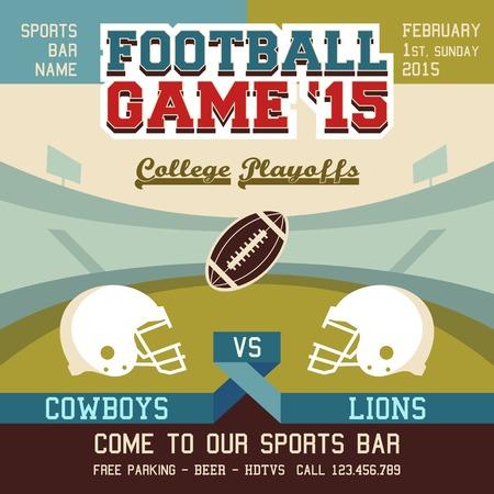 playoffs: Football game college playoffs sports event poster Illustration