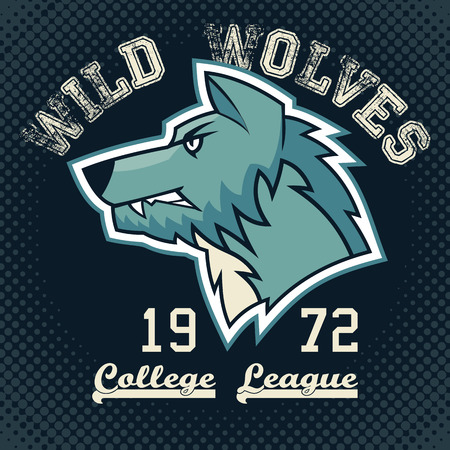 team sport: Wild wolves sports mascot college league t-shirt graphic