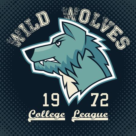 symbol sport: Wilde W�lfe Sportmaskottchen College-Liga T-Shirt mit Grafik