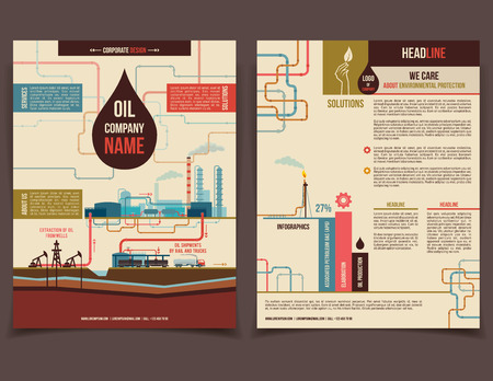 oil drop: Oil company corporate flyer brochure flat design template face and back