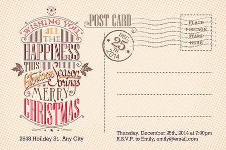 ビンテージ クリスマス パーティー招待状はがき  イラスト・ベクター素材