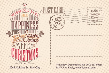 postage stamp: Vintage Christmas holiday party invitation postcard