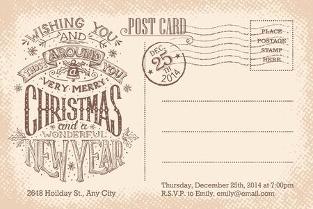 ビンテージ クリスマスと新年の休日パーティー招待状はがき  イラスト・ベクター素材