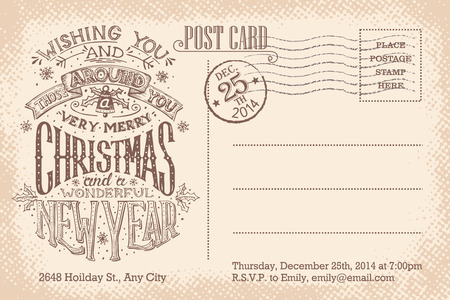 post: Vintage Christmas and New Year holiday party invitation postcard