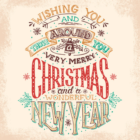 Christmas and New Year holiday hand lettering wishes Vector