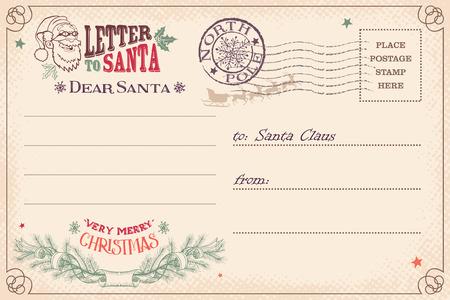 Vintage Christmas letter to Santa Claus wish list postcard Illustration