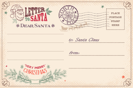 Vintage Christmas letter to Santa Claus wish list postcard Illustration