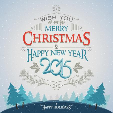 Kerstmis en Nieuwjaar wenskaart met typografie op de winter bos achtergrond