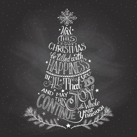 congratulations word: Vintage hand-lettering Christmas tree greeting card with chalk on blackboard background