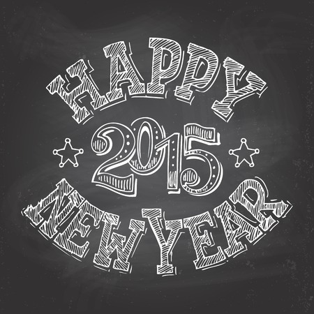 Happy New Year retro hand-lettering with chalk on blackboard background Illustration