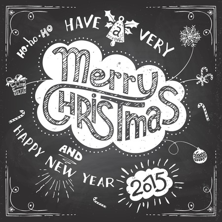 Merry Christmas chalkboard doodles greeting card on blackboard background