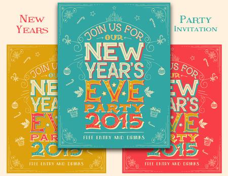 fin de a�o: Fin de A�o invitaci�n de la fiesta a mano letras Nuevo. Conjunto de tres opciones de color Vectores