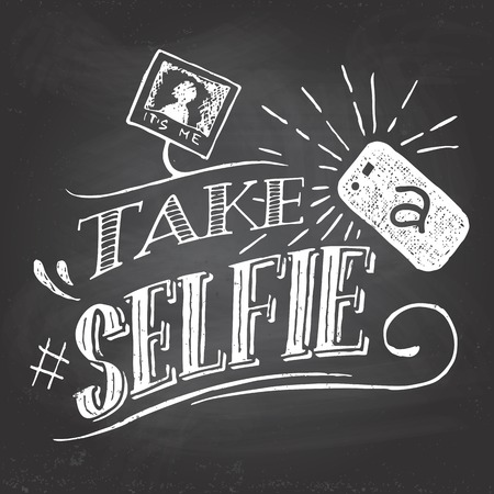 Take a selfie motivation quote hand-lettering on blackboard background with chalk Vettoriali