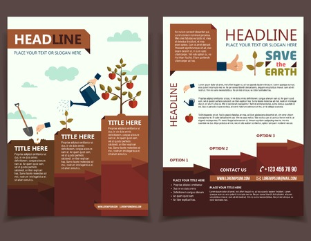 Planting tree design template for broshure cover and flyer