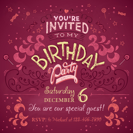 Vintage birthday party invitation card design typography and hand-lettering Illustration