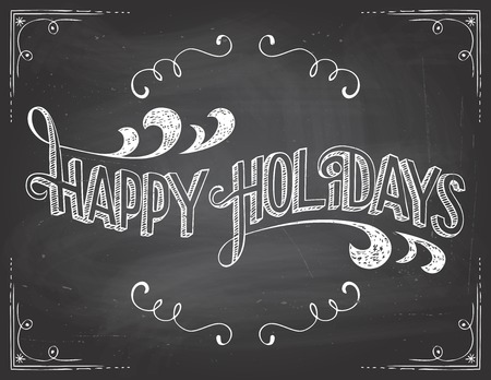 Lyckliga ferier hälsningar vintage typografisk på tavlan bakgrund med krita Illustration