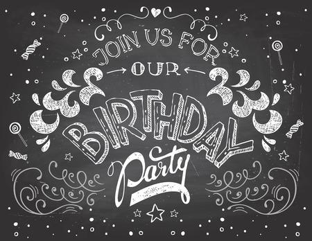 분필로 칠판에 생일 파티 초대장 인쇄술을 손-글자