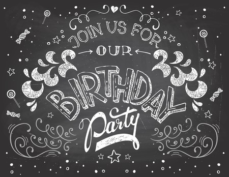 Hand-lettering Birthday Party invitation typography on blackboard with chalk