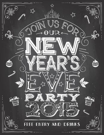 handlettering: New Years Eve Party invitation. Hand-lettering on blackboard background with chalk