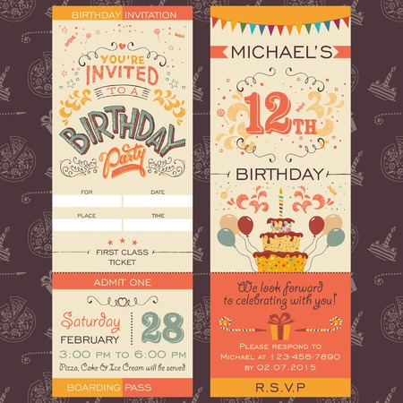 boarding card: Birthday party invitation boarding pass ticket. Face and back sides