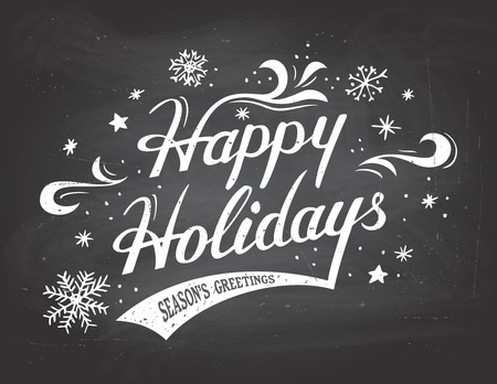 Happy Holidays greetings vintage hand-lettering on blackboard background with chalk Imagens - 34098985