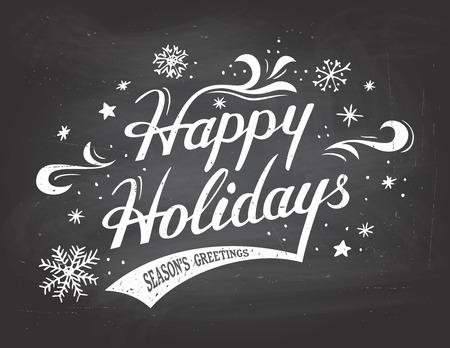 Happy Holidays groeten vintage hand-belettering op schoolbord achtergrond met krijt Stock Illustratie