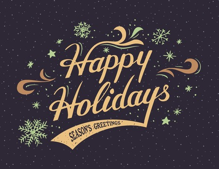 christmas holiday: Happy Holidays hand-lettering vintage greeting card