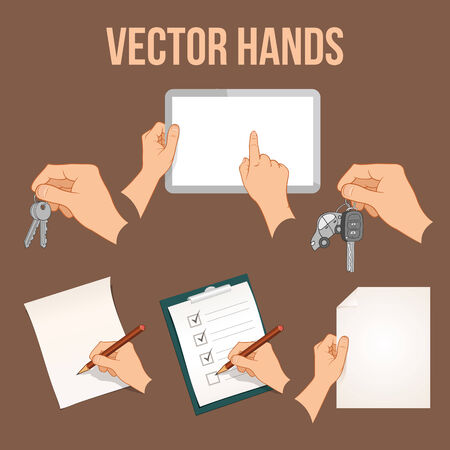 hand holding paper: Collection of hands holding different business objects