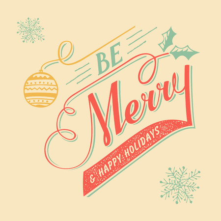holidays and celebrations: Be Merry hand-lettering Christmas greeting card