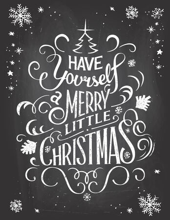 handlettering: Vintage hand-lettering Christmas greetings on blackboard background with chalk Stock Photo