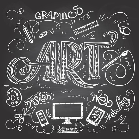 Art hand-lettering typography with hand-drawn elements on blackboard background with chalk Vectores