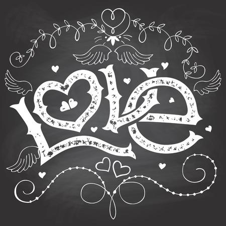 romance: Любовь ручной надписи на день Святого Валентина с рисованной элементов на доске мелом фоне