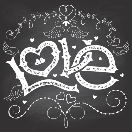 Amor mão-lettering para o dia dos Valentim com elementos desenhados à mão no fundo do quadro-negro com giz Ilustração