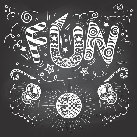 party celebration: Fun hand-lettering typography with hand-drawn elements on blackboard background with chalk Illustration