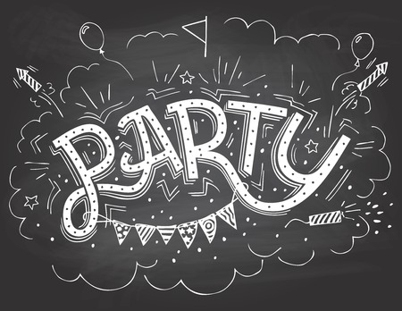 Party hand-lettering invitation with hand-drawn party elements on blackboard background with chalk