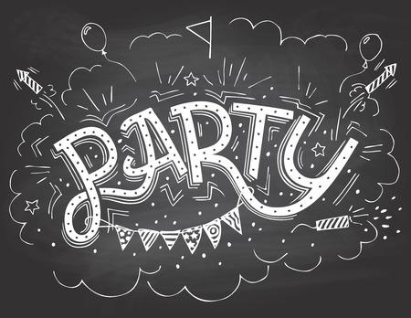 Partei Handschrift Einladung mit handgezeichneten Partei Elemente auf Tafel Hintergrund mit Kreide Standard-Bild - 35180935