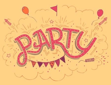handlettering: Party hand-lettering invitation card with hand-drawn party elements