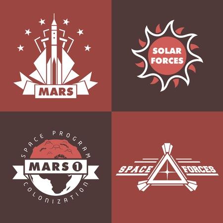 colonisation: Set di esplorazione dello spazio, marte distintivi programma di colonizzazione e etichette Vettoriali