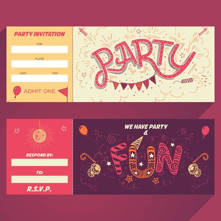handlettering: Party hand-lettering invitation ticket with hand-drawn party elements Illustration