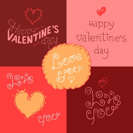 Happy Valentines day hand-lettering greeting labels set Vector